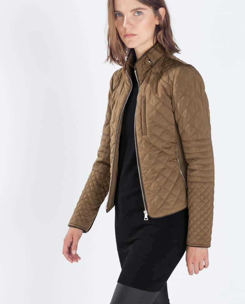 zara padded jacket with zips