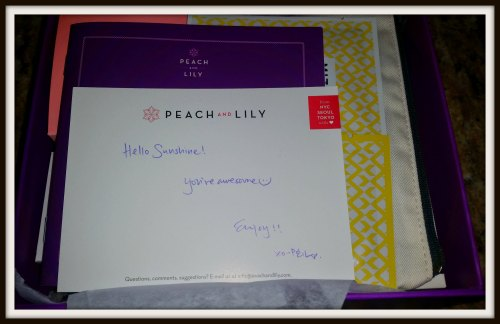 peach and lily handwritten note