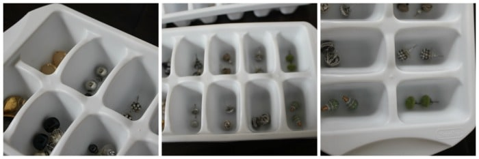 earring organization with ice cube trays