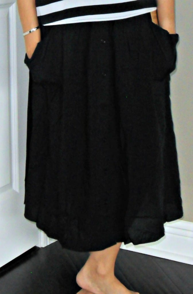 POCKETED BUTTON DOWN MIDI SKIRT