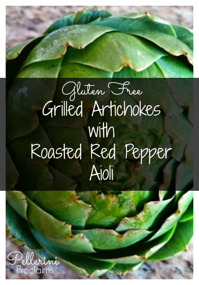 Gluten Free Grilled Artichokes with Roasted Red Pepper Aioli