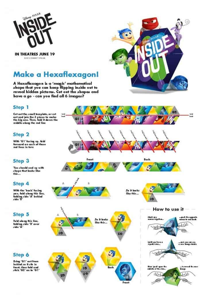 Inside Out Disney Make a Haxaflexagon