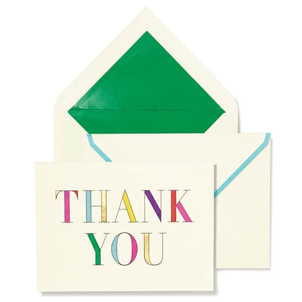 Kate Spade Rainbow Thank You Card