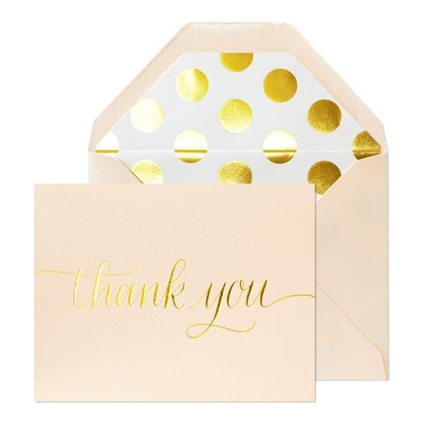 Light Pink Script Thank You Card