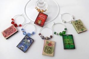 Book Lover Wine Charms