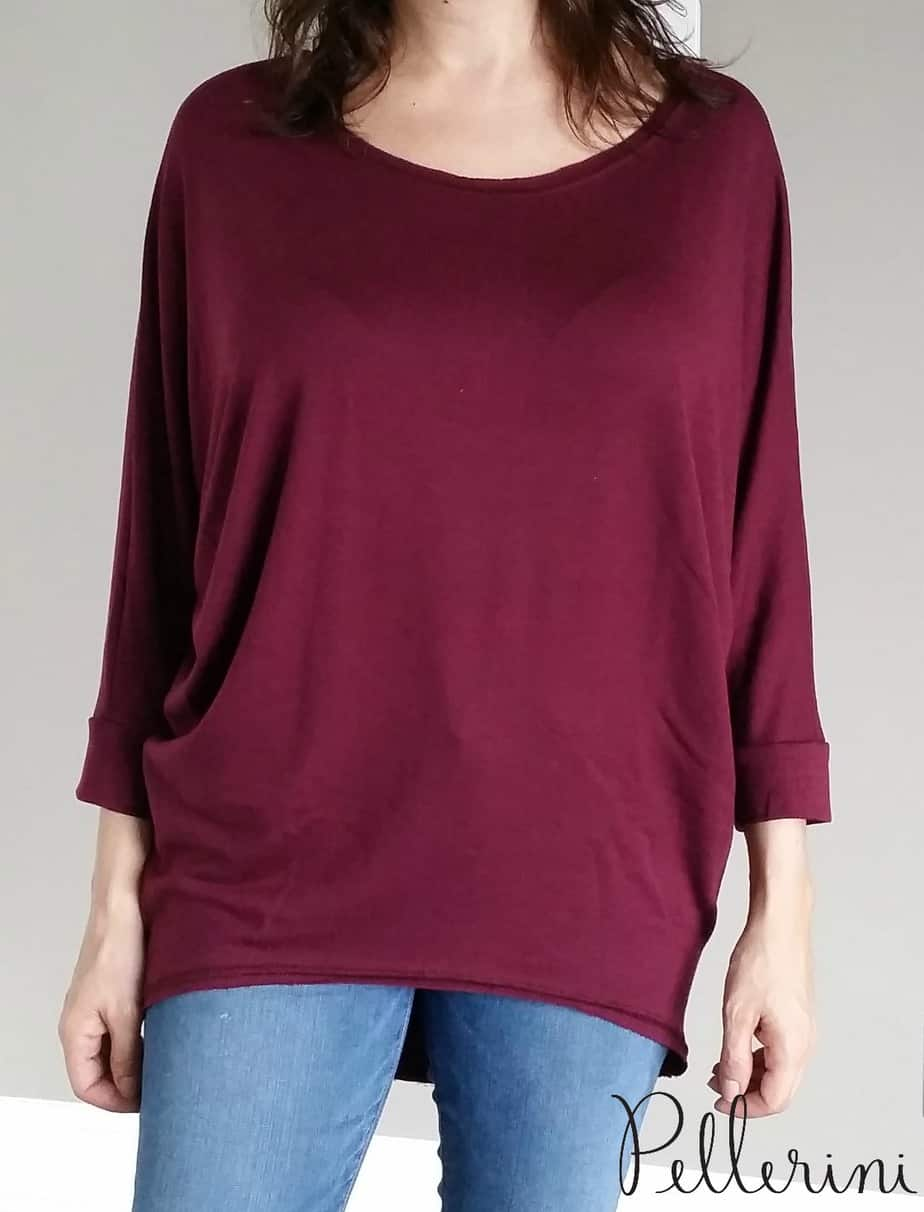 Wantable Style Edit French Terry Dolman in Wine