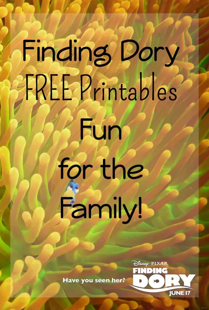 Finding Dory Free printables fun for the family