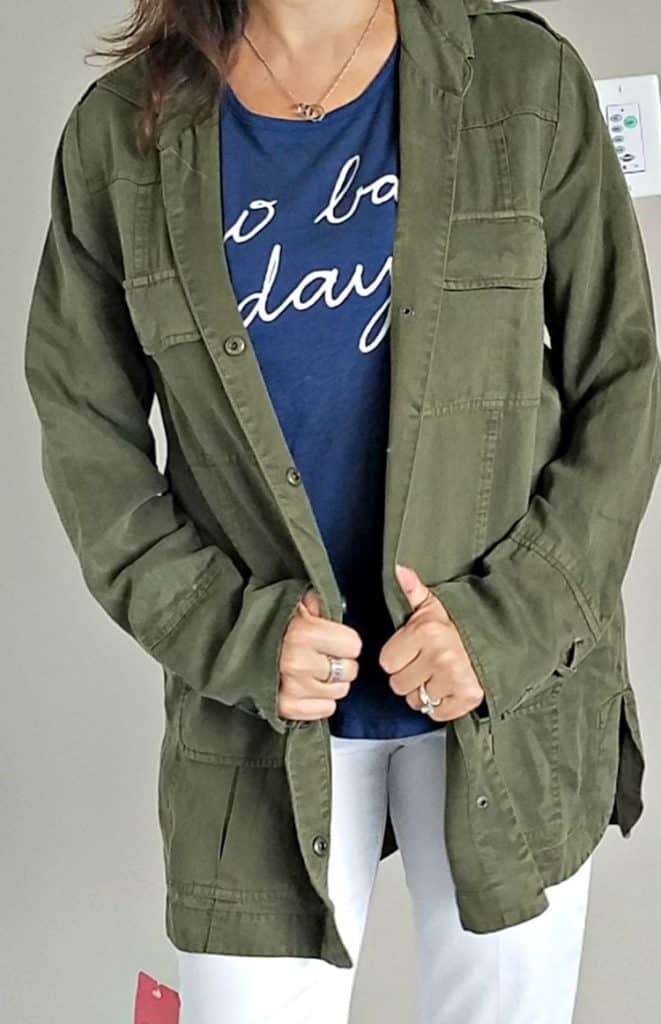 Trendsend Willow and Clay Tencel Utility Jacket in Olive