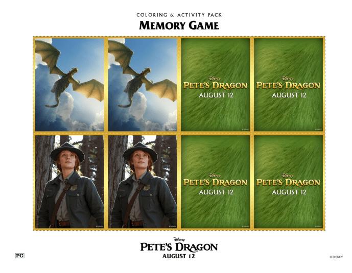 Petes Dragon Memory Game Printable