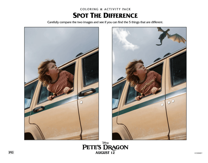Petes Dragon Spot the Differences Printable