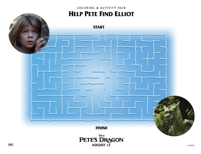 Petes Dragon Maze Printable