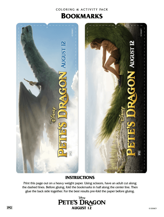 Petes Dragon Bookmarks Printable