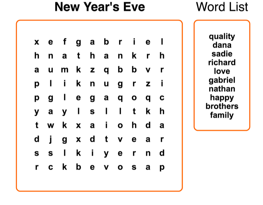 New Year's Eve Fun with Kids Word Search