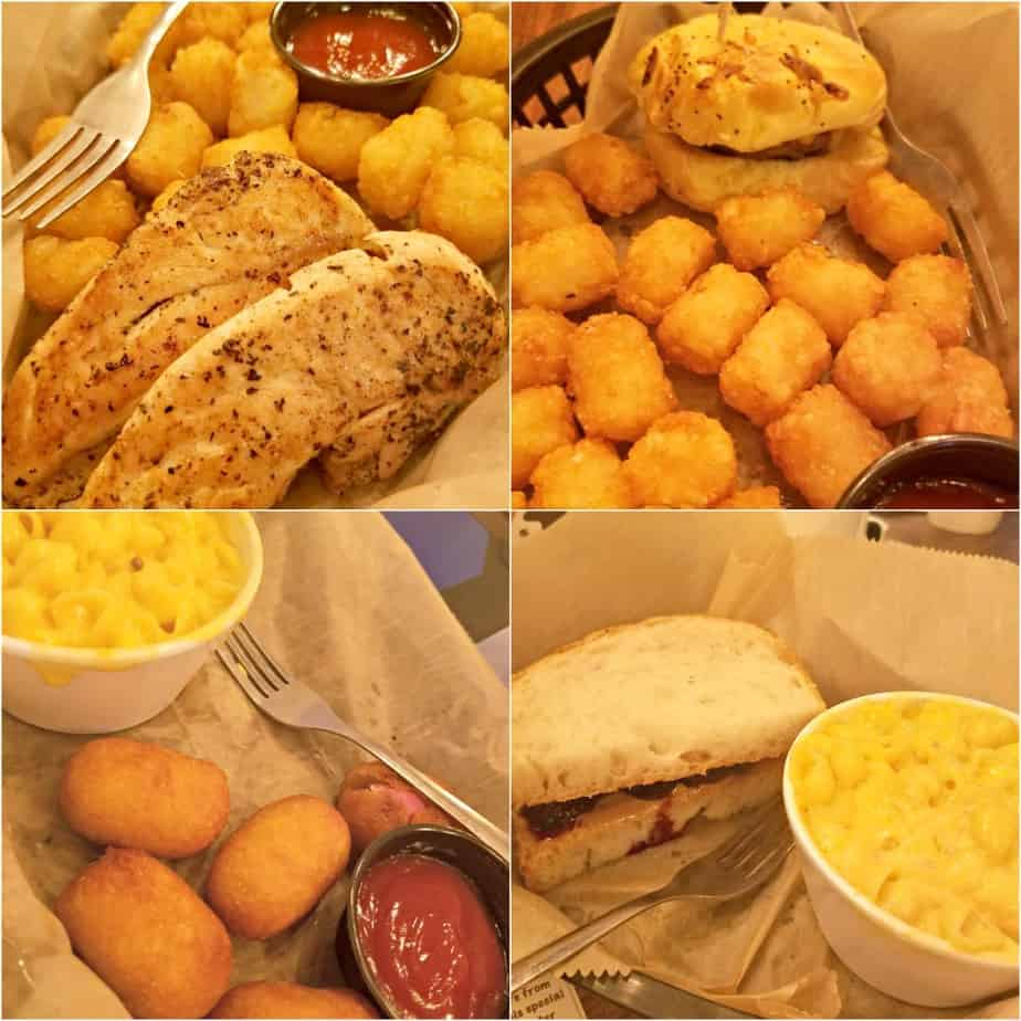 Clockwise from top left: Grilled Chicken Tender | Slider | PB & Homemade Jam | Corn Dogs