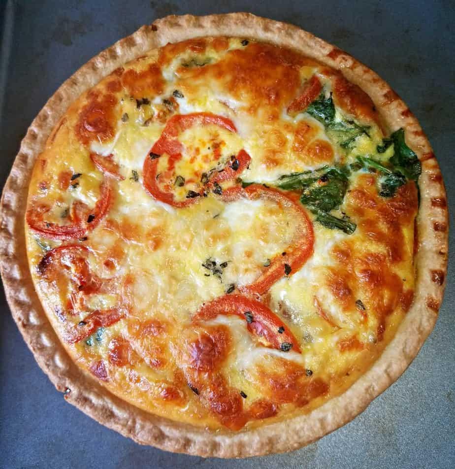 Sunday Brunch Day Quiche Tomato, Spinach and Mozzarella