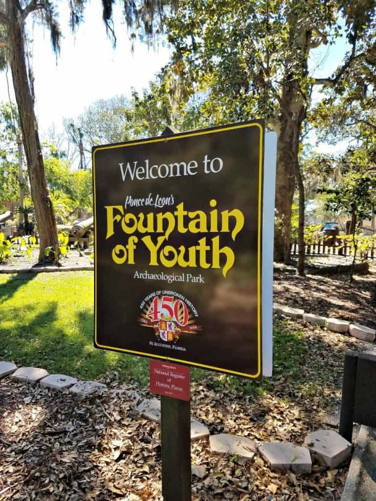 Family Friendly St Augustine - Fountain of Youth Sign