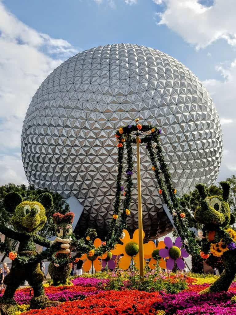 Epcot with Mickey and Minnie topiaries