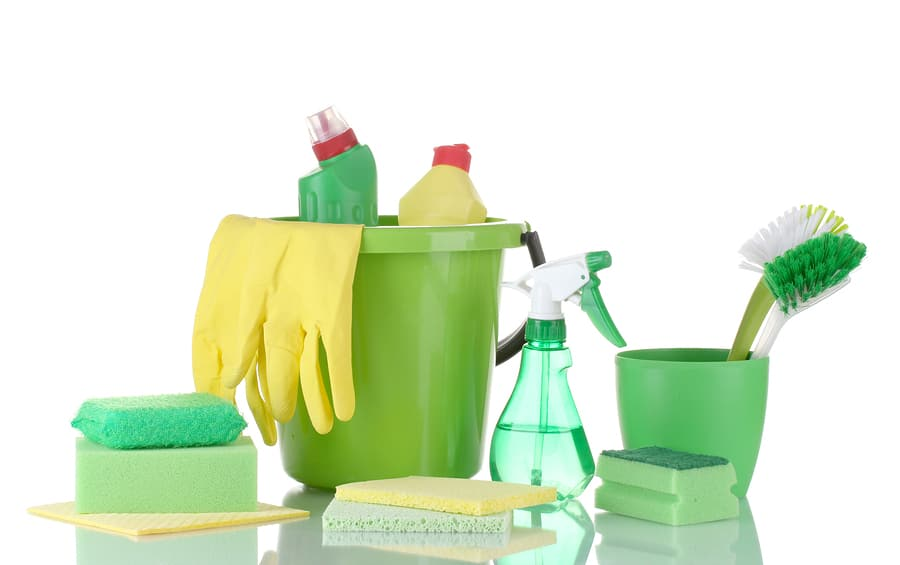 organize your bathroom cleaning products caddy