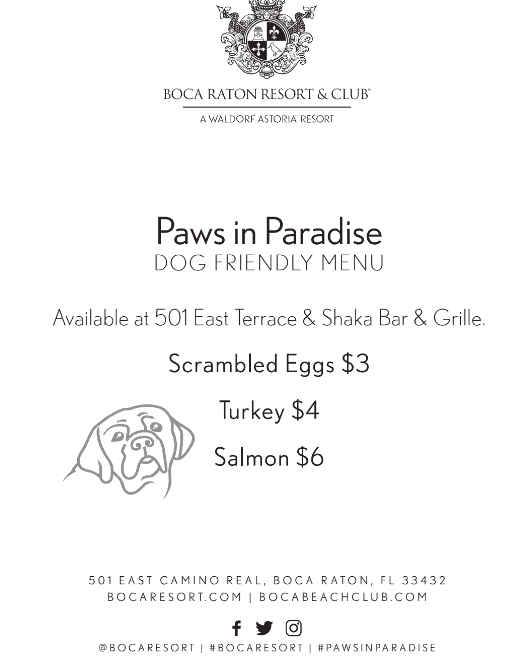 pet dining menu for pets in paradise at boca raton resort and spa