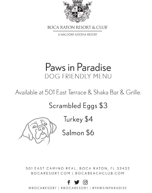 pet dining menu for pets in paradise at boca raton resort and spa