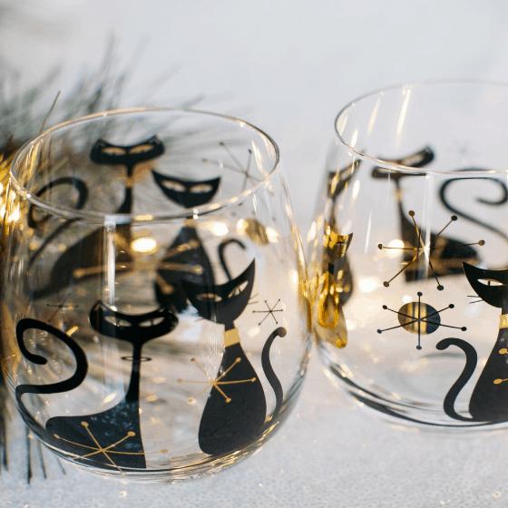 Cat Lady Box wine glasses