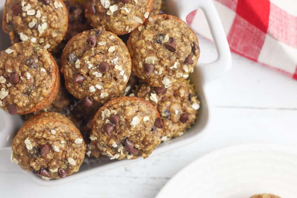 gluten free peanut butter banana oat chocoliate chip muffins