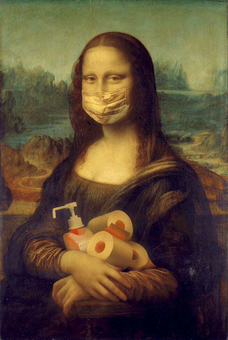 Mona Lisa with a mask on